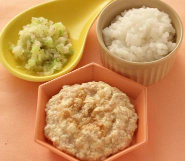 肉豆腐・きのこと白菜のやわらかあえ・おかゆ