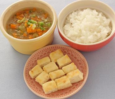 豆腐ステーキ・野菜スープ・おかゆ