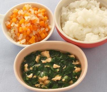さけと青菜のくず煮・2色あえ・おかゆ