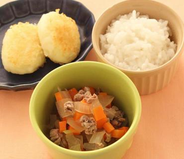 牛肉と野菜の煮もの・じゃが芋のおやき・おかゆ