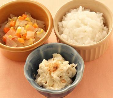 おかか豆腐・野菜のコーン煮・おかゆ