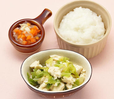 豆腐とキャベツの白あえ風・玉葱と人参の煮びたし・おかゆ
