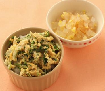 水菜の卵とじ丼・大根のコーン煮
