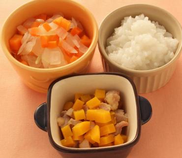 鶏肉とかぼちゃのやわらか煮・二色あえ・おかゆ