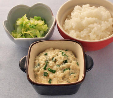 くずし豆腐の麻婆風・白菜のやわらか煮・おかゆ