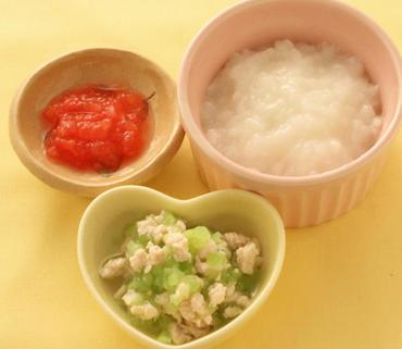 鶏肉と胡瓜のやわらか煮・ミニトマトのピューレ・おかゆ