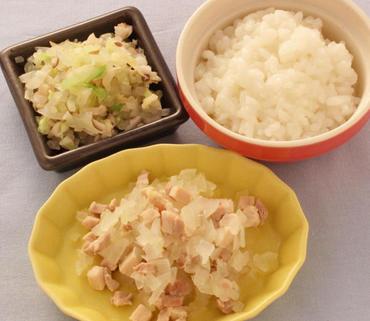 鶏肉と玉葱のレンジ蒸し・きのこと野菜のやわらか煮・おかゆ