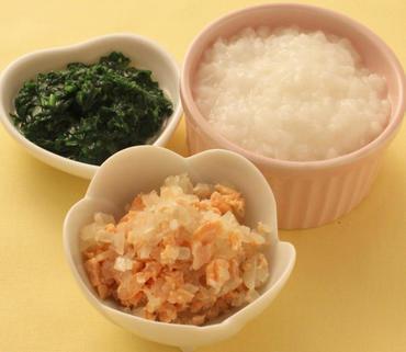 さけと玉葱のレンジ蒸し・青菜のペースト・おかゆ