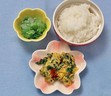 ほうれん草オムレツ・レタスと玉葱のやわらか煮・おかゆ