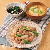 豚肉とスナップえんどうのおろしソース