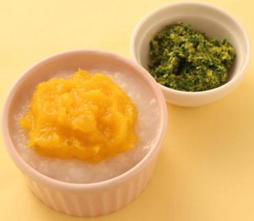 かぼちゃのせがゆ・水菜の黄身あえ