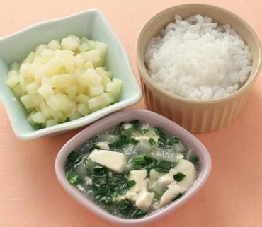 くずし豆腐と野菜のとろみ煮・やわらかポテト・おかゆ