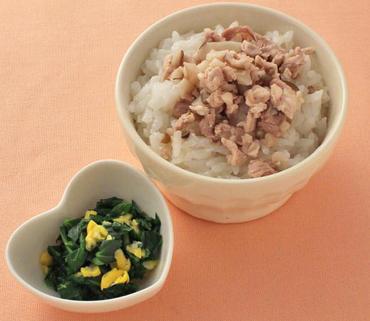 洋風豚丼・青菜とコーンのやわらか煮