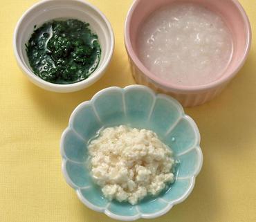 豆腐と玉葱のつぶしあえ・ほうれん草のペースト・おかゆ