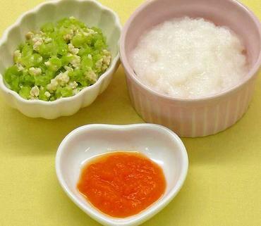 鶏肉とキャベツのやわらか煮・人参のペースト・おかゆ