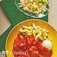 モッツァレラと食べるカチャトーラ(鶏肉のトマト煮込み)
