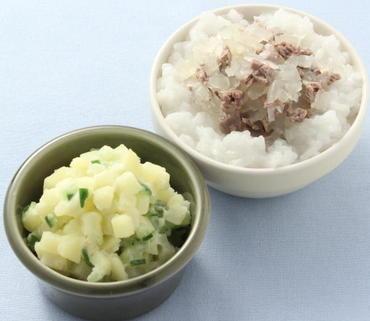 牛丼・ポテトサラダ・おかゆ