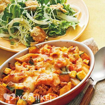 夏野菜とペンネのトマトグラタン