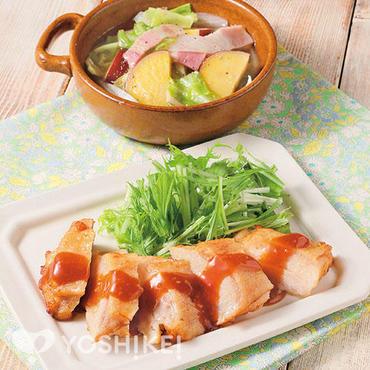 レンジで簡単!チキンステーキ~ガーリックソース~
