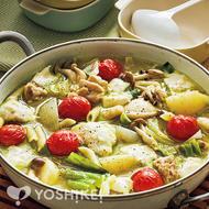 ハーブチキンのモッツァレラジェノバ鍋