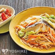 1/2日分の野菜と白身魚のレンジ和風蒸し
