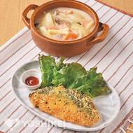 鮭の香草チーズパン粉焼き